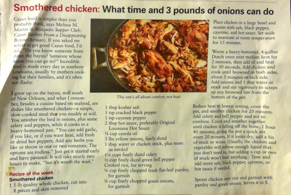 Smothered Chicken: What time and 3 pounds of onions can do