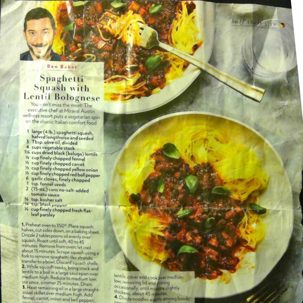 Spaghetti Squash with Lentil Bolognese Recipe